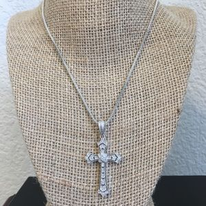 Jewelry - Diamond and Sterling Silver Cross Enhancer w/Chain
